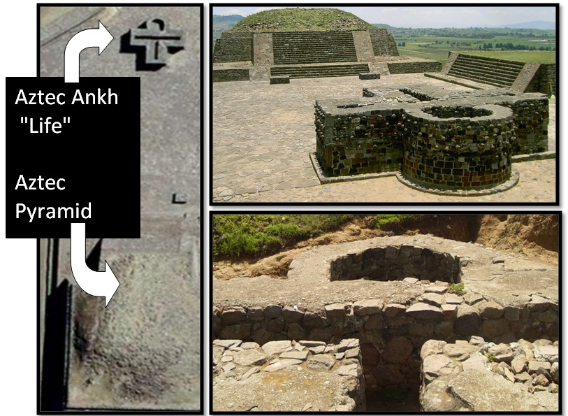 "Unexplained Mystical Structure: Egyptian ""Ankh Cross"" Temple―Built By The Aztecs? Aztec-ankh-cross-and-pyramid"