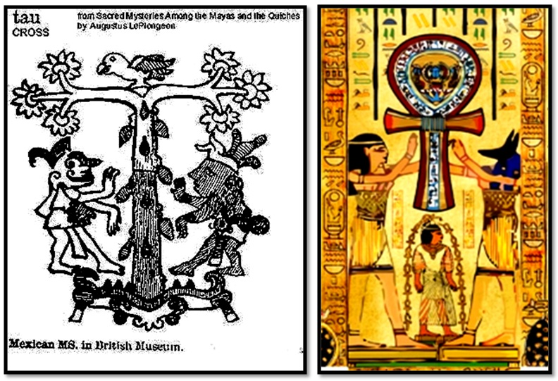 "Unexplained Mystical Structure: Egyptian ""Ankh Cross"" Temple―Built By The Aztecs? Aztec-tau-egyptian-tau-side-by-side"